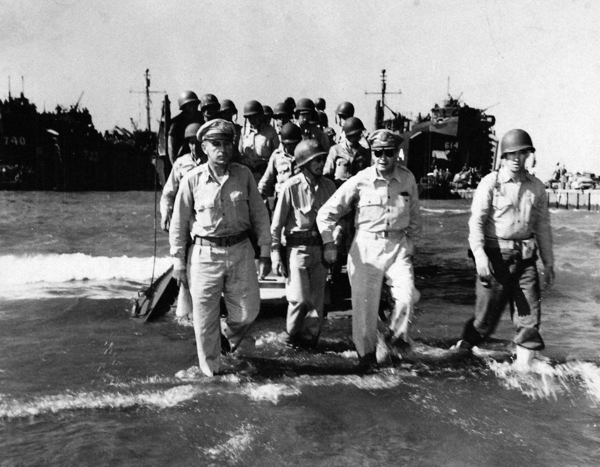 General Douglas A. MacArthur goes ashore in Lingayen Gulf in the Philippines near noon of S-Day, January 22, 1945